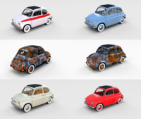 Fiat 500 with interior Pack 3D Model