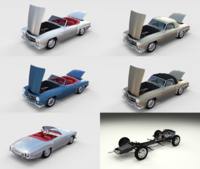 Full Mercedes 190SL Pack 3D Model