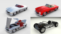 Mercedes 300SL with chassis Pack 3D Model