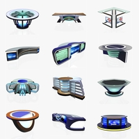 Virtual Tv Studio News Desk Collection (12 Pieces ) 3D Model