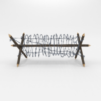 Lowpoly Barb Wire Obstacle 2 3D Model
