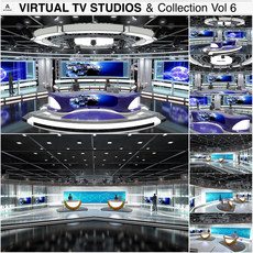 Virtual TV Studio News Sets Collection 6 3D Model