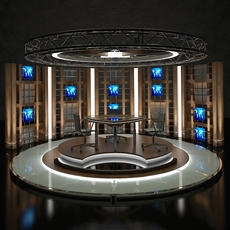 Virtual Tv Studio Chat Set 17 3D Model