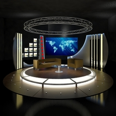 Virtual TV Studio Chat Set 19 3D Model