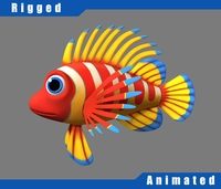 Cartoon_Fish04_Rigged 3D Model