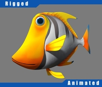 Cartoon_Fish03_Rigged 3D Model