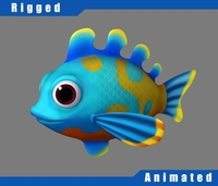 Cartoon_Fish02_Rigged 3D Model
