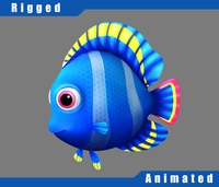 Cartoon_Blue_Fish_Rigged 3D Model