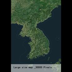 Korean Peninsula satellite map 3D Model