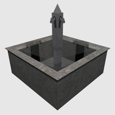low poly square fountain 3D Model