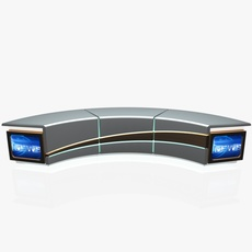Virtual Tv Studio News Desk 4 3D Model