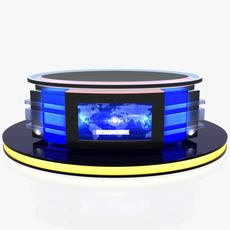 Virtual Tv Studio News Desk 12 3D Model