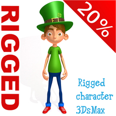 Leprechaun boy Cartoon Rigged 3D Model