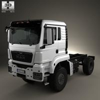MAN TGS 4×4 L cab Tractor Truck 2007 3D Model