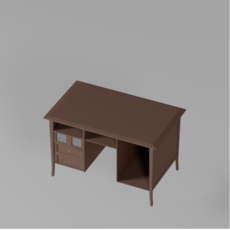 Low poly traditional classic desk 3D Model