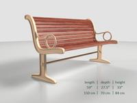 Park bench 4 3D Model