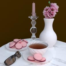 Macaron Tea Set 3D Model