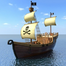 Low Poly Cartoon Pirate Ship 3D Model