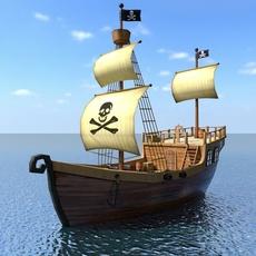 Low Poly Cartoon Pirate Ship 3D Model