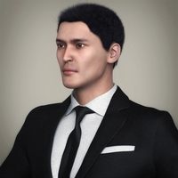 Realistic Handsome Man with White Shirt, Tie, Black Coat, Black Pant & Black Hairs 3D Model