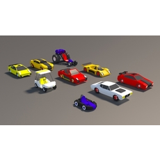 low poly Car Pack 01 3D Model