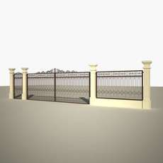 iron cast gate with fence 3D Model