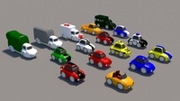 Cartoon Low Poly car Pack 3D Model