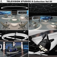 Virtual TV Studio News Sets Collection 5 3D Model
