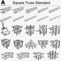 Square Truss Standard (Collection 24 Modular Pieces) 3D Model