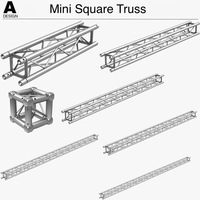 Mini Square Truss (Collection 7 Modular Pieces) 3D Model
