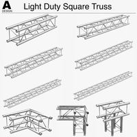 Light Duty Square Truss (Collection 9 Modular Pieces) 3D Model