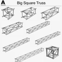 Big Square Truss (Collection 10 Modular Pieces) 3D Model