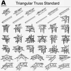 Triangular Truss Standard (Collection 41 Modular Pieces) 3D Model