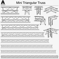 Mini Triangular Truss (Collection 14 Modular Pieces) 3D Model
