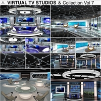 Virtual TV Studio News Sets Collection 7 3D Model