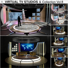 Virtual TV Studio Chat Sets Collection 8 3D Model