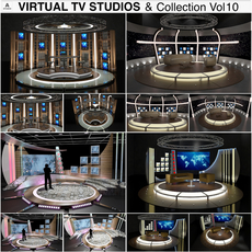 Virtual TV Studio Chat Sets Collection 10 3D Model