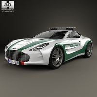 Aston Martin One-77 Police Dubai 2013 3D Model