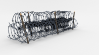 Low Poly Barb Wire Obstacle 13 3D Model