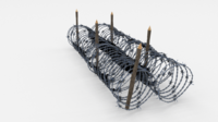 Low Poly Barb Wire Obstacle 15 3D Model
