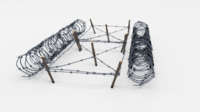 Low Poly Barb Wire Obstacle 21 3D Model