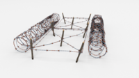 Low Poly Barb Wire Obstacle 22 3D Model
