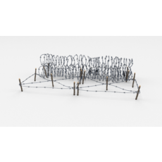 Low Poly Barb Wire Obstacle 23 3D Model
