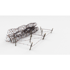 Low Poly Barb Wire Obstacle 24 3D Model