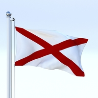Animated Alabama Flag 3D Model