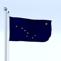 Animated Alaska Flag 3D Model