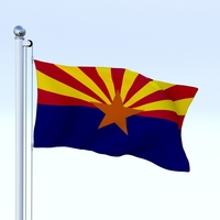 Animated Arizona Flag 3D Model