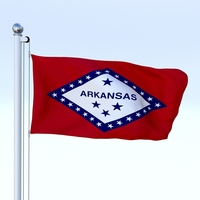 Animated Arkansas Flag 3D Model
