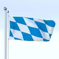 Animated Bavaria German State Flag 3D Model
