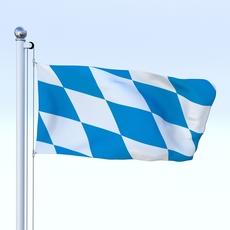 Animated Bavaria German State Flag 3D Model